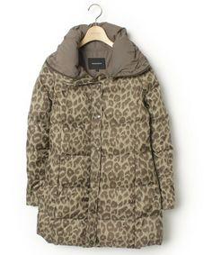 ROSE BUD(ローズバッド)の古着「レオパード柄ダウンコート(ダウンジャケット/コート)」|ベージュ