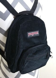 JanSport Black Corduroy Half Pint Mini Backpack