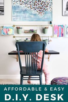Looking for an affordable desk option that doesn't take up a ton of room and is easy to make? This DIY desk is your answer! It looks great with any decor style and it's easy enough for inexperienced DIYers. Full tutorial here at Kaleidoscope Living  #DIYdesk #bedroomdesk #kidsroomideas Cool Diy, Easy Diy, Ikea Hacks, Space Saving Desk, Simple Desk, Bedroom Desk, Floating, Contemporary Home Decor, Retro Furniture