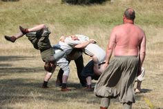 The Viking games continued with a very complicated and thrilling game called the spider if I recall it right. Started with three people and then three more jumped over and placed themselves on top/behind. They sure knew how to amuse themselves – the Vikings.