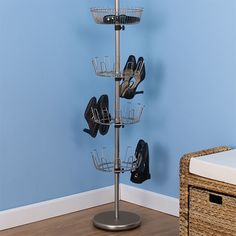The Container Store > Nickel Floor-to-Ceiling Shoe Tree Shoe Shelves, Built In Shelves, Shoe Tray, Shoe Storage Solutions, Space Saving Hangers, How To Store Shoes, Custom Closets, Shoe Organizer, Bedroom Decor