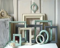 Mint Green Cream and Gray Frames Set of 11 by WillowsEndCottage, $145.00