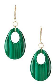 14K Yellow Gold Malachite Earrings by Glamorous Green Gems