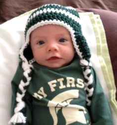 Michigan State Spartans Earflap Football Hat, Crochet Baby Michigan State Spartan Green and White Hat - Custom Order in your choice of size. $22.00, via Etsy.