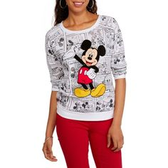 Disney Juniors Mickey Mouse Graphic Comic All Over Print 3/4 Sleeve Shirt - Walmart.com