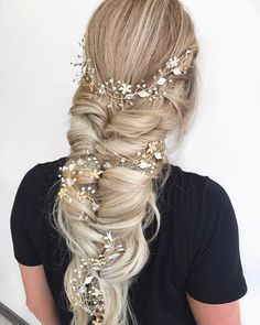 Feeling the Fall Wedding Season ahead . accessories & Puff Me Light Crown Extensions . Cute Braided Hairstyles, Prom Hairstyles For Long Hair, Trendy Hairstyles, Wedding Hairstyles, Crown Extensions, Long Hair Designs, Wedding Season, Fall Wedding, Wedding Updo
