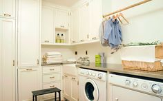 Light & bright laundry room in a Santa Monica home featured in the Design Chic blog
