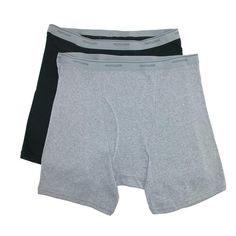 These boxer briefs is designed for men of average height between 5 feet 8 inches and 6 feet with a fuller waist. The black pair is 100% cotton and the heathered grey is 90% cotton, 10% polyester. These boxer briefs feature an exposed elastic waistband, fuller cut legs that will not ride up and a roomier waist for a comfortable fit.