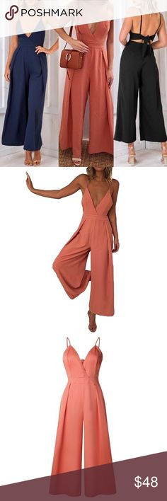 "Long Romper- Jumpsuit Made from soft fabric, comfortable to wear. Sexy plunging V neck and spaghetti strap design. Open back with self-tie bandages. High waist and wide leg pants. Cut with a regular fit. New Slip Jumpsuit Sexy Deep V Neck, Bandage Spaghetti Strap, Wide Leg Pants,  Romper Orange color.  Bust: 39.8"" Waist: 34.3"" Length: 51.2"" Pants Jumpsuits & Rompers"