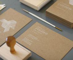 DIY elegant business card: white-inked stamp on Kraft-paper colored cards
