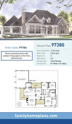 European House Plan 97380 | Total Living Area: 2,314 SQ FT, 3 bedrooms and 2.5 bathrooms. Three covered porches offer outdoor living space on the front, side and rear. #europeanhome