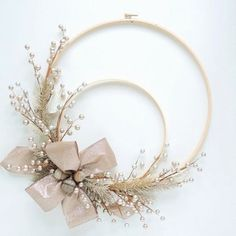 Items similar to Embroidery Hoop Wreath – Silver Platinum Winter Holiday on Etsy - Wreath Ideen Holiday Crafts, Christmas Wreaths, Christmas Crafts, Christmas Decorations, Xmas, Christmas Ornament, Christmas 2019, Wreath Crafts, Diy Wreath