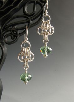 Butterfly Wing Chainmaille Earrings with Green Crystal. $20.00, via Etsy.