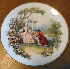 "Vintage Shenango Fine China USA 8"" Decorative Plate Victorian Scene People Gold  #Shenangofinechinausa"