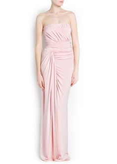 Strapless wrap gown with draped details at front. Back zip fastening and inner lining. Drape Gowns, Formal Dresses, Wedding Dresses, United Kingdom, One Shoulder Wedding Dress, Mango, Clothes, Fashion, Weddings