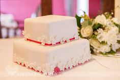 This 2 tier white cake was pink ombre inside!