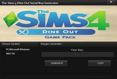 The Sims 4 Dine Out Serial Key Generator Pc Mac Os Keygen Sims 4 Sims Generation