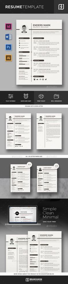 #Resume Template - #Resumes Stationery Download here: https://graphicriver.net/item/resume-template/20391721?ref=alena994