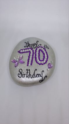 Birthday 70th stone, gifts for her, keepsake love token, unique birthday gifts, silver pebble,home decor ornament. by Pebbles4Thought on Etsy