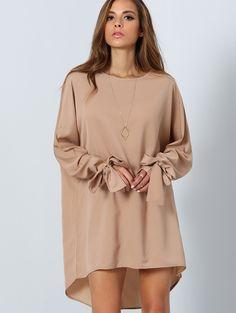 Camel Long Sleeve Loose Dress | MakeMeChic.COM