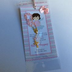 12 baptism favors with mini rosaries Boy by Nandospartysupply