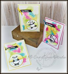 KOCreations Stampin' Up! Blog: More PARTY PANDA'S, Water Color Background, Water Colour, Card Making, Happy Birthday, Animal Cards, Stepped Up, Stitched Shapes