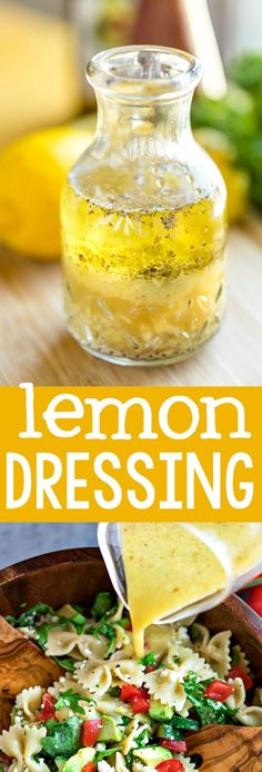 Lemon Dressing Recipe – Peas and Crayons Lemon dressing is a quick and easy way to take your salads to the next level with a burst of fresh citrusy flavor! We love it on leafy green salads and pasta salad too! Lemon Dressing Recipes, Clean Eating, Healthy Eating, Paleo, Cooking Recipes, Healthy Recipes, Soup And Salad, Salad Recipes, Snacks Recipes