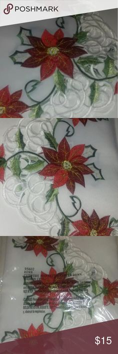 Table runner cutwork poinsettia topper table linen Table cloth linen 67x15 new red white with flowers Other