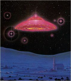 UFO over cathedral science fiction art. Arte Sci Fi, Sci Fi Art, Aliens And Ufos, Ancient Aliens, Alien Art, Trippy, Retro Futuristic, Science Fiction Art, Out Of This World