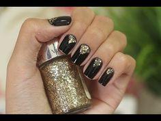 Nail Art - Preto com um toque de brilho Dourado / Luiza Gomes