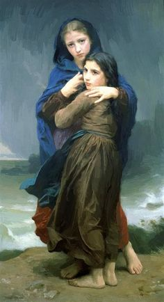 (The Storm by William Adolphe Bouguereau as fine art print. High-quality museum quality from Austrian manufactory. Stretched on canvas or printed as photo. We produce your artwork exactly like you wish. With or without painting frame. William Adolphe Bouguereau, Art Magique, Munier, Pierre Auguste Renoir, Edouard Manet, Pre Raphaelite, Oil Painting Reproductions, Fine Art, Sansa