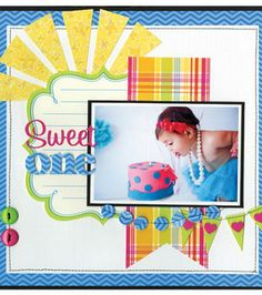 baby scrapbook pages, scrapbook layouts, birthday parties, birthday sweets, babi scrapbook