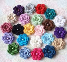 This Listing you will receive 23 pcs crochet flowers. These Crochet flowers made with cotton yarn, cotton and bamboo mixed yarn. These flowers with pearls in the center.  Flower size (3 layers) in 1.5 inches to 1-3/4 inches. Flower colors in multicolor 1) Silver gray, 2) red, 3) mallard, 4) white, 5) purple, 6) beige, 7) teal, 8) hot pink, 9) bluebird, 10) green, 11) lavender, 12) rose wood, 13) cream, 14) plum, 15) Lt orchid, 16) mint, 17) brown, 18) black, 19) yellow, 20) Lt pink, 21) ...