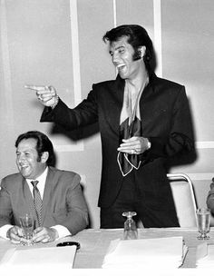 "Elvis and Joe Esposito at the ""Vegas 69"" press conference"