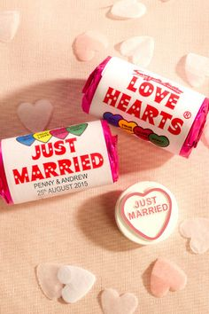 """Personalized """"JUST MARRIED"""" love hearts"""