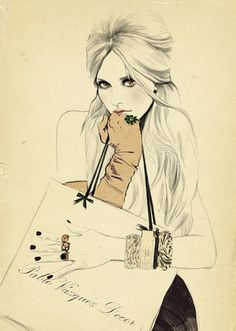 Sandra Suy's illustrations are in sepia tones with splashes of colour, the skin is left the same tone as the paper the figure beautifully rendered with pen or pencil, a blush of pink added to lips or cheeks, then washes of colour illuminate the garments and lift them off the page.