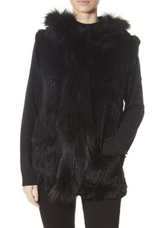 Black Rabbit Gilet With Raccoon Trim