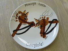 Footprint horse craft for kids on a plate