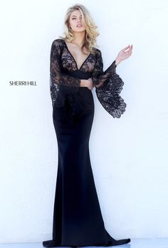 Black lace bell sleeved evening gown | Sherri Hill 50610