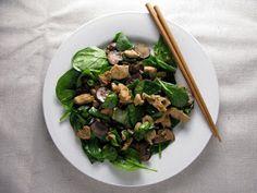 Kitchen Trial and Error: teriyaki mushroom, spinach, and chicken salad