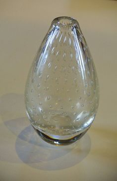 Bengt Orup vase with suspended bubbles in a clear glass.