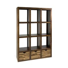 Put your treasures on display with these striking wooden shelves. We love the smooth brown finish of the pine shelves and the rustic look of the three-drawer bottom done in a patchwork of reclaimed woods. This piece would make a great room divider.