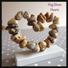 www.facebook.com/littlebirdarts - Hag Stone Hearts - available to buy from Little Bird Arts Facebook page - just £22.50 xXx