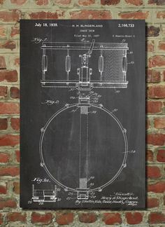 Looks like it's on a chalk board...i like it!  https://www.etsy.com/listing/173649124/snare-drum-patent-wall-art-poster