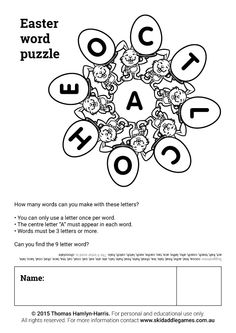 www.skidaddlegames.com.au Easter Puzzles, Printable Mazes, 3 Letter, Activities, Lettering, Words, Drawing Letters, Horse, Brush Lettering