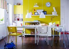 bunte möbel wohnideen esszimmer gelbe akzente