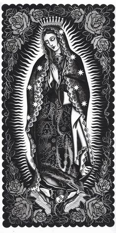 Artist: J. Watkins Aces Over Eights Tattoo, Petaluma, California GICLEE - archival inkjet print on German etching paper Printed at Mindzai Creative in Austin, Texas Virgen Maria Tattoo, Tattoo Virgen, Virgin Mary Painting, Virgin Mary Art, Chicano Tattoos, Chicano Art, Arabic Tattoos, Mother Mary Tattoos, Mexican Tattoo