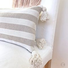 Pillow with tassels set of two for neutral Hygge decor for autumn cottage, Lumbar pillow cover, Quality design for modern farmhouse, Rustic Farmhouse Decor, Modern Farmhouse, Coastal Farmhouse, Farmhouse Style, New Neighbor Gifts, Linen Pillows, Throw Pillows, Yellow Walls, Decorative Cushions