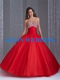 >> Click to Buy << High Quality Cheap Quinceanera Gowns 2015 Sweetheart Applique Beaded Debutante Ball Gown Sweet 16 Dress Red Organza BQ453 #Affiliate
