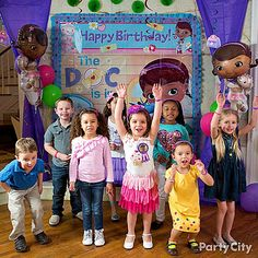 Doc-lovers will be happy to pose for pics in front of an exciting and colorful Doc McStuffins scene setter!